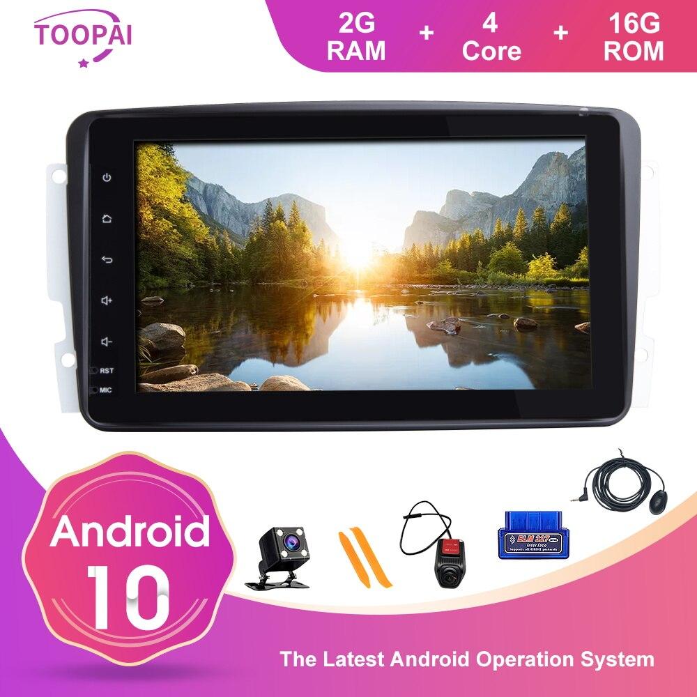 Toopai kit multimídia automotivo, android 10, para mercedes benz clk w209 vito w639, viano, rádio, navegação gps, swc, player multimídia para carro ips dsp ips