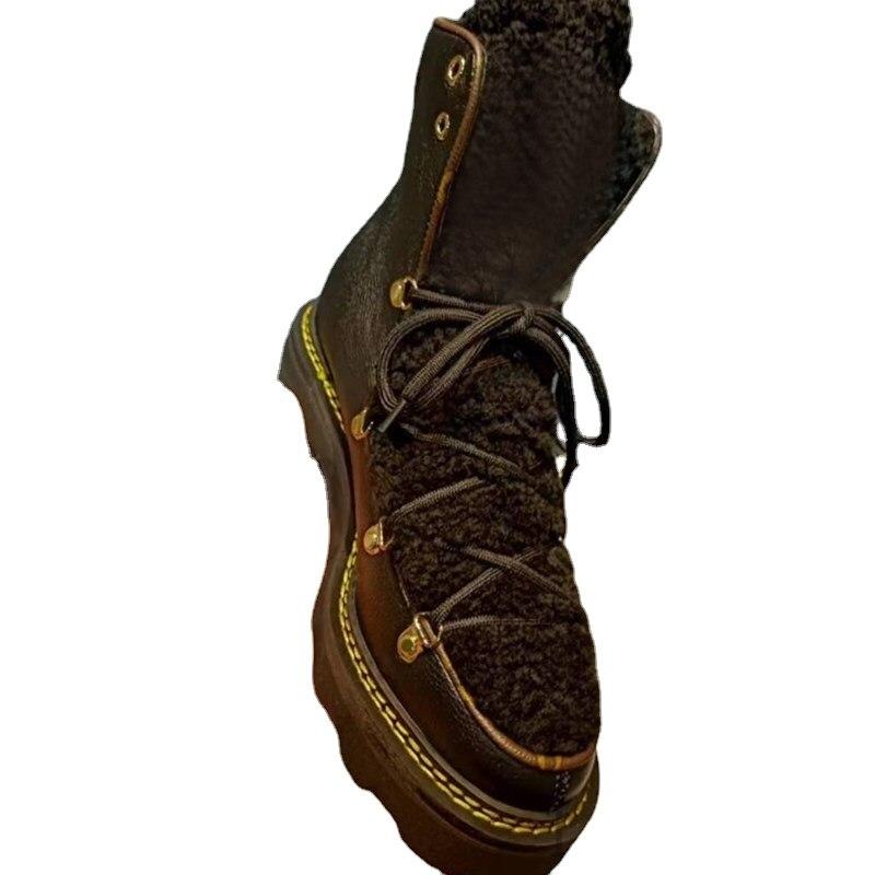 2021 الشتاء سميكة الصوف الثلوج الأحذية النسائية سميكة سوليد أحذية كاجوال الدانتيل متابعة المرأة الشتاء الأحذية خفيفة سوليد أحذية نسائية
