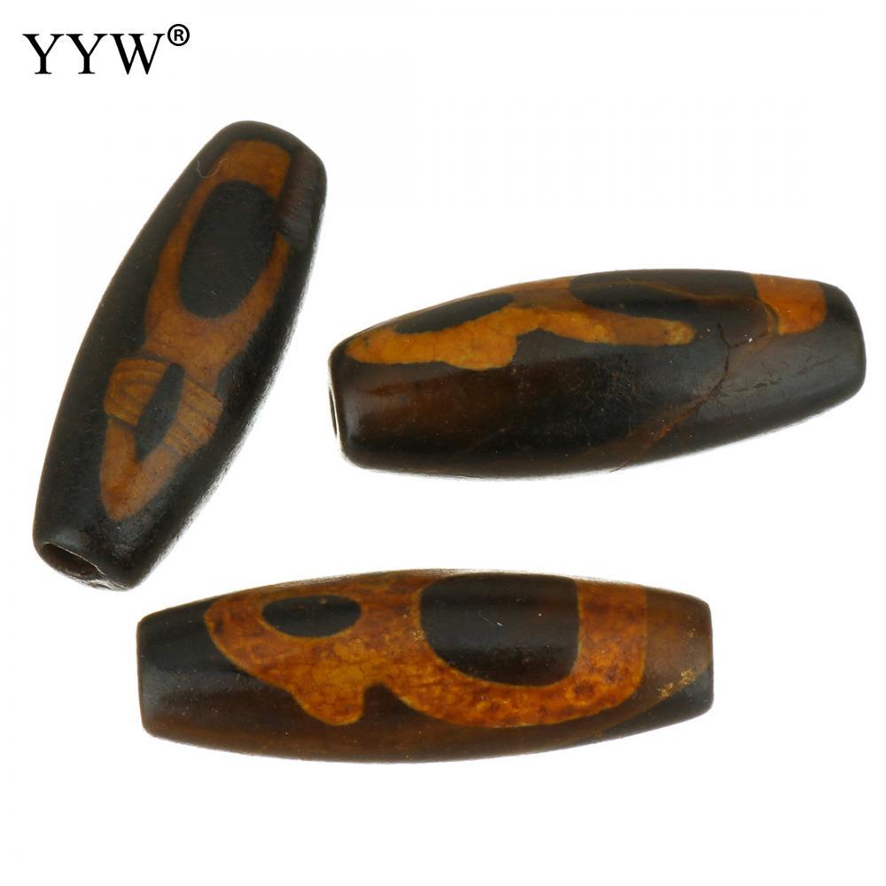Ágatas tibetanas naturales ónice Dzi cuentas ovaladas antiguas Tíbet Agates Dzi cuentas negras y marrones 10x30x10mm agujero aproximadamente 2,5mm 5 unids/lote