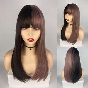 Shoulder Length Straight Hair Black to Purple Synthetic Wig With Bangs For Women Gifts For friend Party Cosplay Wig