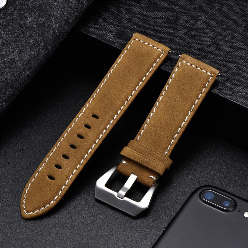 Correa de reloj de cuero Vintage, 18mm, 20mm, 22mm, 24mm, esmerilada, hecha...