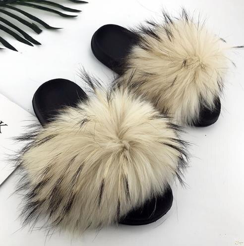 Women's Real Fox Fur Slipper Furry Summer Beach Slipper Beach Sandals Flip Flop Slides Flats Female Outdoor Shoes Fluffy