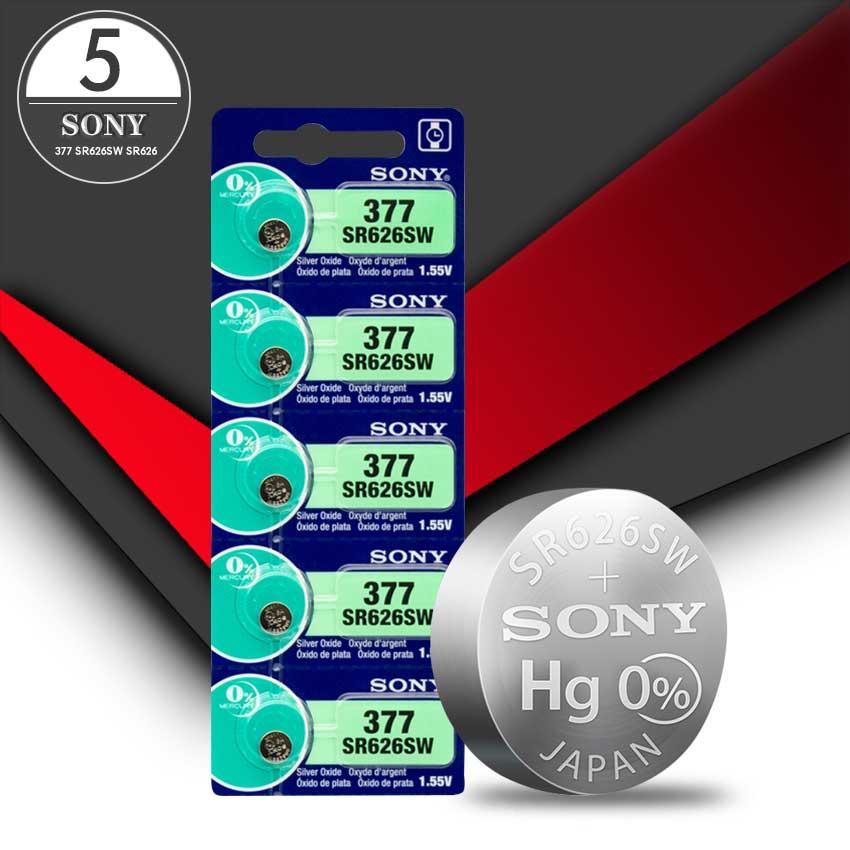 5pc Sony 100% Original 377 SR626SW SR626 AG4 1.55V Silver Oxide Watch Battery SR626SW 377 Button Coi