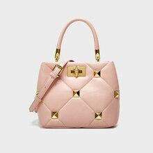 Fashion Rivet Leather Handbag for Women Luxury Brand Designer Shoulder Crossbody Bags Female Top Han