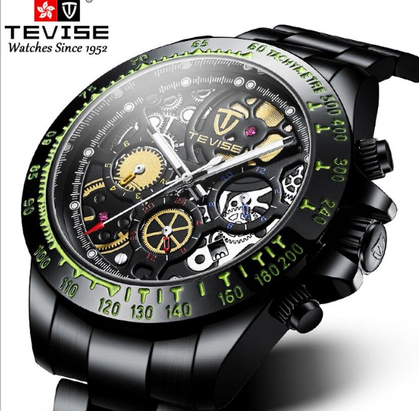 TEVISE Brand Hollow Out Automatic Mechanical Luminous Mens Watch Six Hands Transparent Back Sport Ca