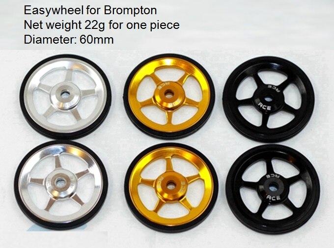 1 par super leve easywheel para brompton preto/prata/ouro