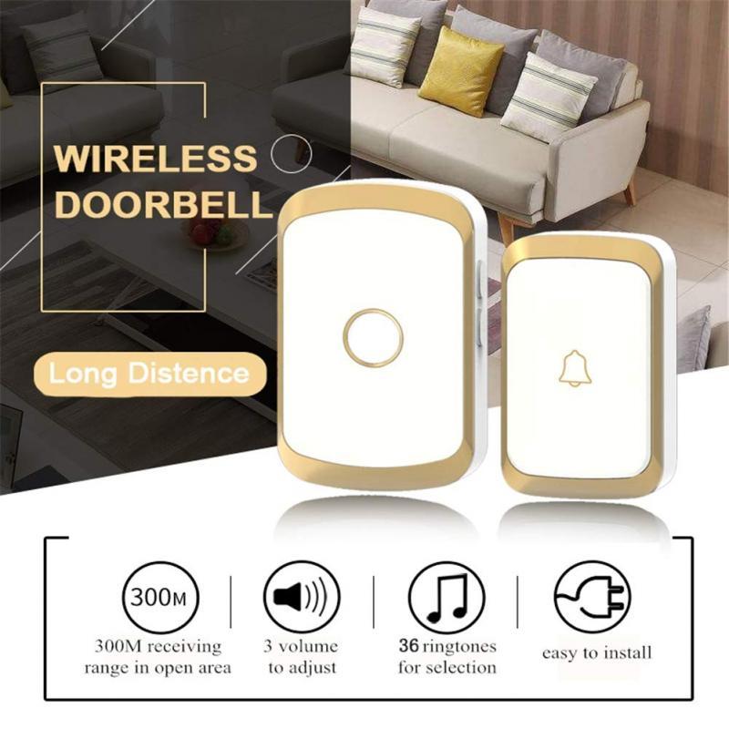 Беспроводной дверной звонок для умного дома, приветствуются звонки со светодиодной подсветкой, 36 песен, с водонепроницаемой сенсорной кноп...
