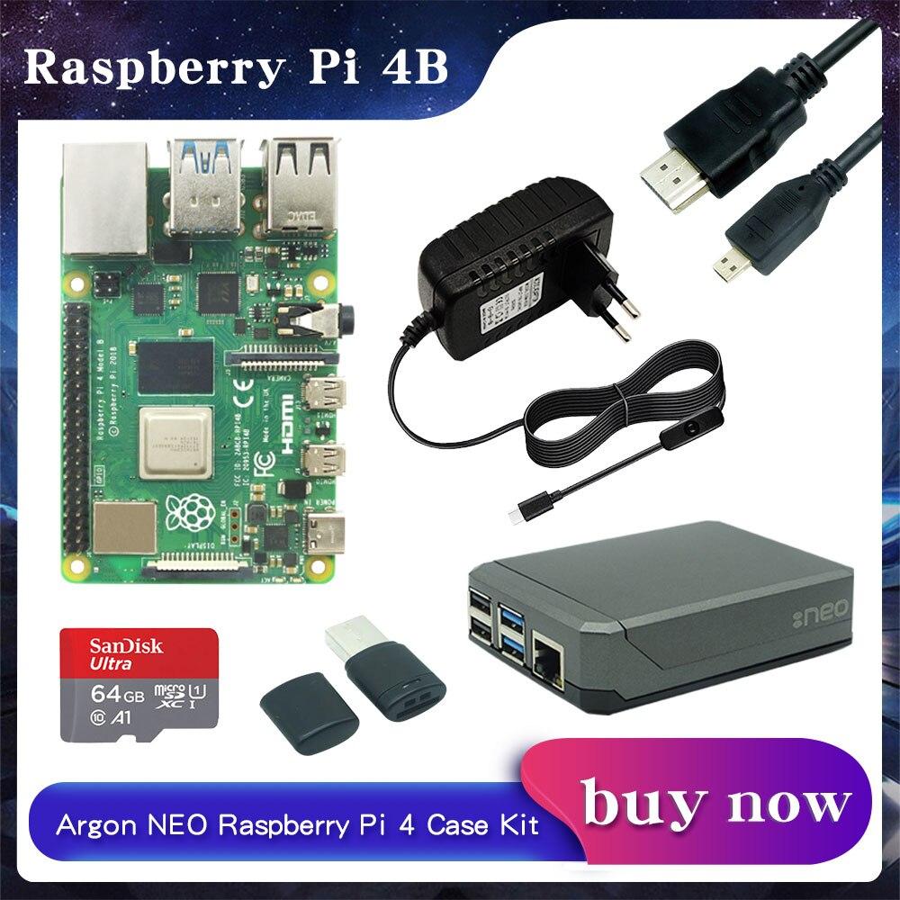 راسبيري بي 4 موديل B 2GB/4 GB/8GB RAM + الأرجون نيو الألومنيوم + محول الطاقة + 32/64 GB بطاقة SD + مايكرو كابل ل RPI 4