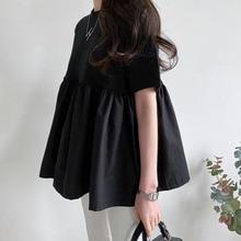 Women Shirts Japanese Korea Casual Black Short Sleeves Shirt Female Fashion Blouse Solid Loose Shirt