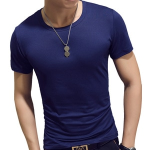 8-Color Korean Summer Solid Short Sleeve V-Neck Top Shows Figure Fashion Thin Pure Cotton Cool Men's T-Shirt F011