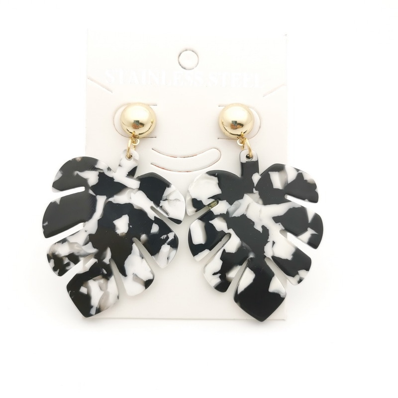 black white gold Acrylic Earrings for women bohemian Leaves Acetate Big Drop Dangle Earing Geometric Earing  Jewelry