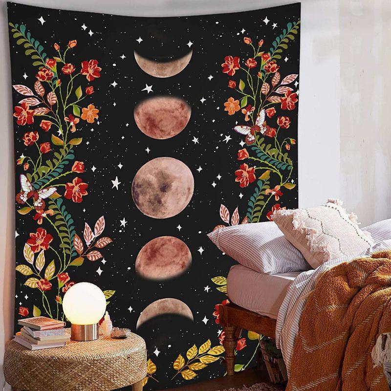 Tapiz de luna de flores, sala de colgar en la pared, alfombra del cielo estrellado, arte psicodélico, tapicería, accesorios de decoración del hogar