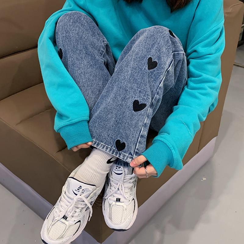 Women Jeans 2021 Spring Streetwear High Waist Jeans Wide Leg Long Pants Vintage Femme Casual Baggy Straight Mom Denim Trouser
