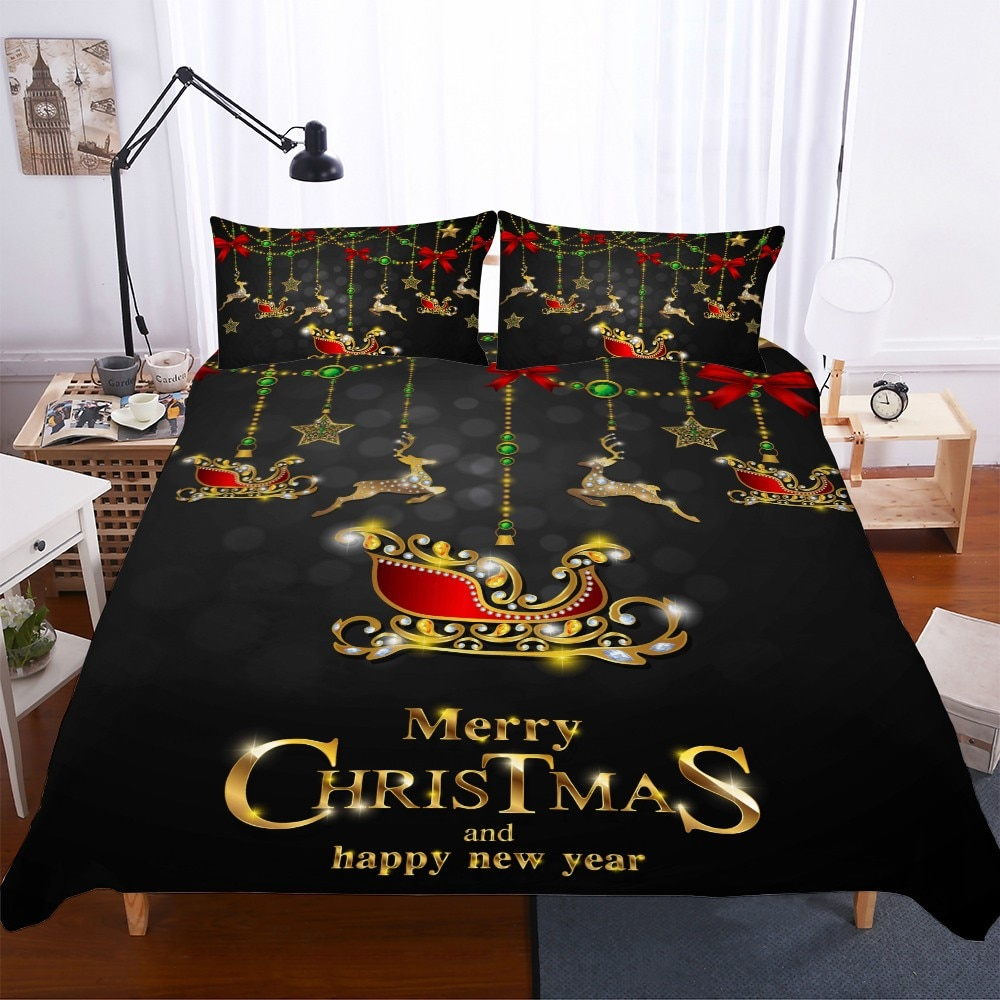 Luxury Black Bedding Set Reindeer Star Christmas Sleigh Microfiber Duvet Cover Pillowcase New Year Bedroom Decor Comforter Sets