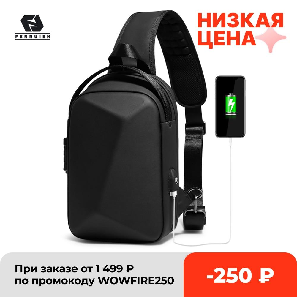 Fenruien حقيبة رجالية حقيبة كتف متعددة الوظائف مكافحة سرقة مقاوم للماء الذكور حقيبة كروسبودي عادية رحلة قصيرة الصدر حزمة USB شحن