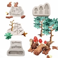 xiaoxiang squirre mushroom silicone fondant molds wedding cake decorating tools cake molds for baking tree resin molds m2018