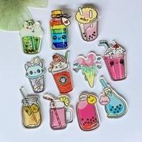 Lot de 10 tasses a boisson sucree 3D  bouteilles a souhait  plats  nourriture acrylique  decoration de maison  broche  bijoux  accessoires de fabrication  artisanat de mariage  A70