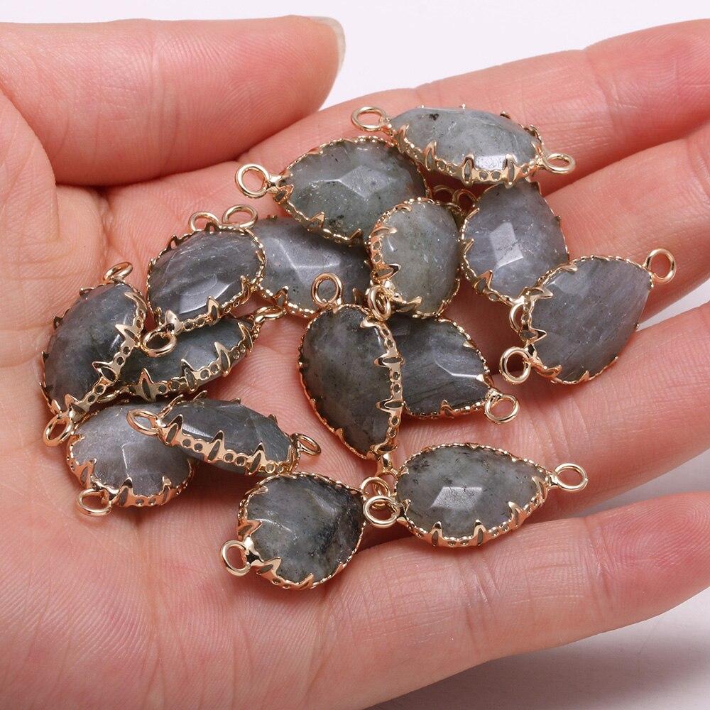 Натуральный Камень Капля воды Форма лабрадорит кулон Соединитель с двумя отверстиями для ювелирные изделия делая DIY ожерелья, браслеты, акс... кулон малахит биж сплав капля 6 5 см