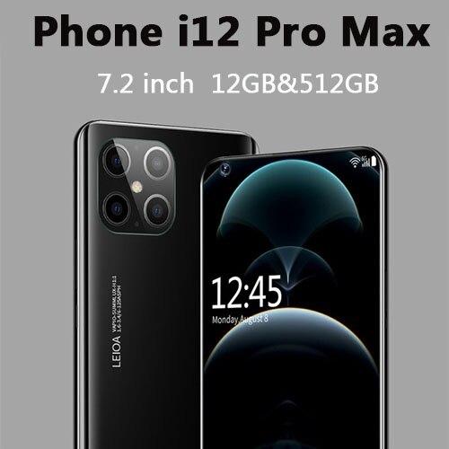 Смартфон i12 Pro Max, 7,2 дюйма, 5000 мАч, 16 Мп + 32 МП, 12 + 512 ГБ