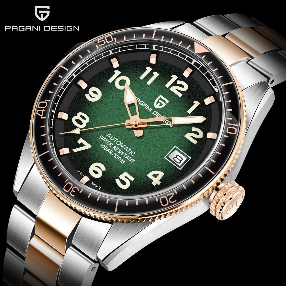 PAGANI تصميم الياقوت كريستال ساعات بعقارب اليابان NH35A التلقائي الرجال ساعة تاريخ السيارات الميكانيكية ساعة معصم 10Bar مقاوم للماء