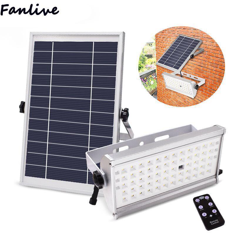 10 Uds 65 Leds luz Super brillante 1500lm 12W foco inalámbrico al aire libre impermeable jardín lámpara alimentada por energía Solar con Control remoto