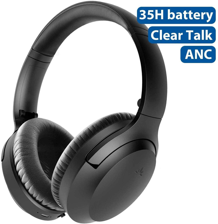 Auriculares Avantree con cancelación activa de ruido con micrófono 35H, auriculares ANC inalámbricos con cable sobre la oreja para viaje en avión