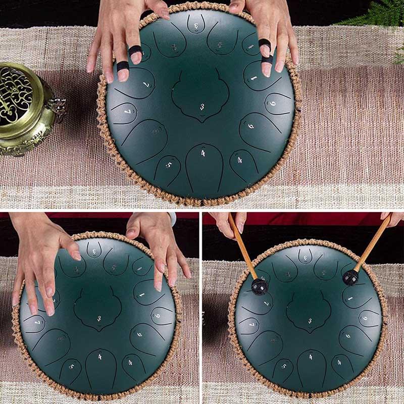 Steel Tongue Drum 13 Inches Handheld Tank Drum Percussion Instrument Relaxing Tune Hand Pan Drum 15 Tone Lotus Handpan Drum enlarge