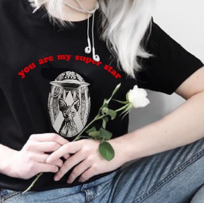 VIP HJN eres mi Super estrella gato Alien T camisa amante camisetas gráfico verano Top Unisex de moda, camiseta Linda camiseta camisetas
