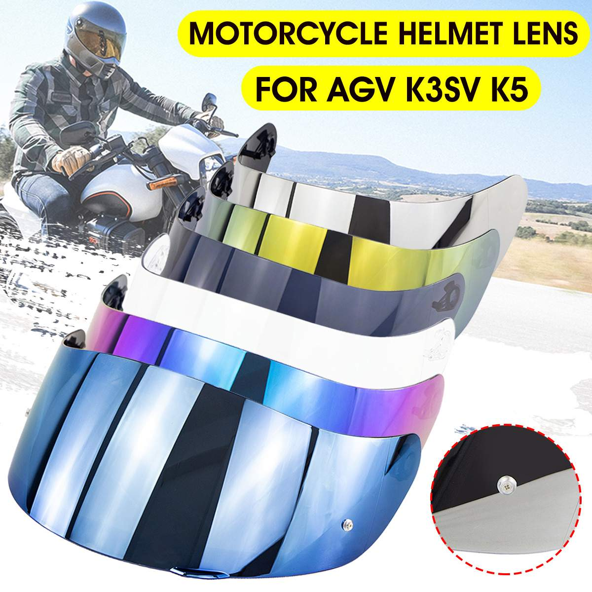 Rosto cheio da motocicleta capacete lente viseira para agv k3sv k5 motocross capacetes viseira óculos de lente com pino bloqueio