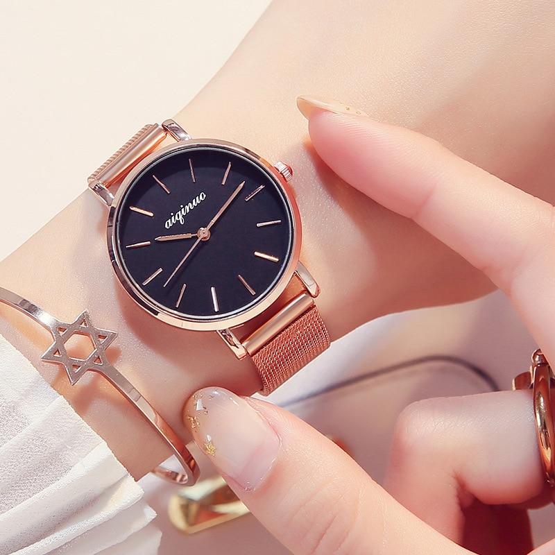 Relojes de moda para mujer, reloj con cielo estrellado con correa magnética, reloj de pulsera femenino, reloj de cuarzo para mujer