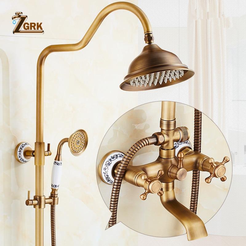 ZGRK Antique Rain Shower Faucets Set with Hand Wall Mounted Brass Shower Mixer for Bathroom Bath Rainfall Shower Set