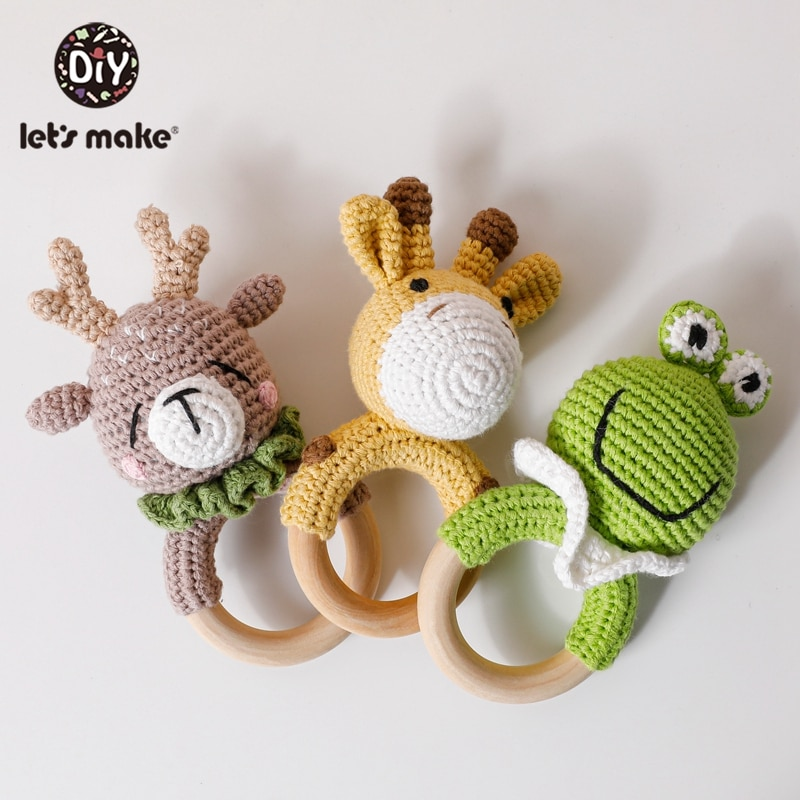 Let's Make 1pc Baby Rattle Crochet Pattern With Bell Baby Toys Early Educational Teething Rattle Amigurumi Kids Baby Bed Toys baby toys 1set crochet amigurumi elephant owl rattle bell custom newborn pacifier clip montessori toy educational baby rattle