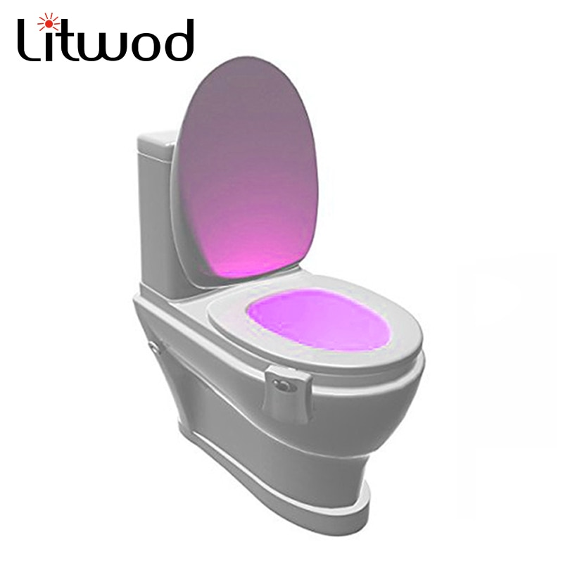 Z90 ночные светильники, новинка, датчик освещения, туалетный свет, светодиодная лампа, человеческое движение, активированный PIR, 8 цветов, автоматическое RGB ночное освещение