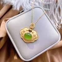 chinese style elegant female xiang yun emeralds hotan jasper stone pendants necklace for women minorities vintage gold jewelry