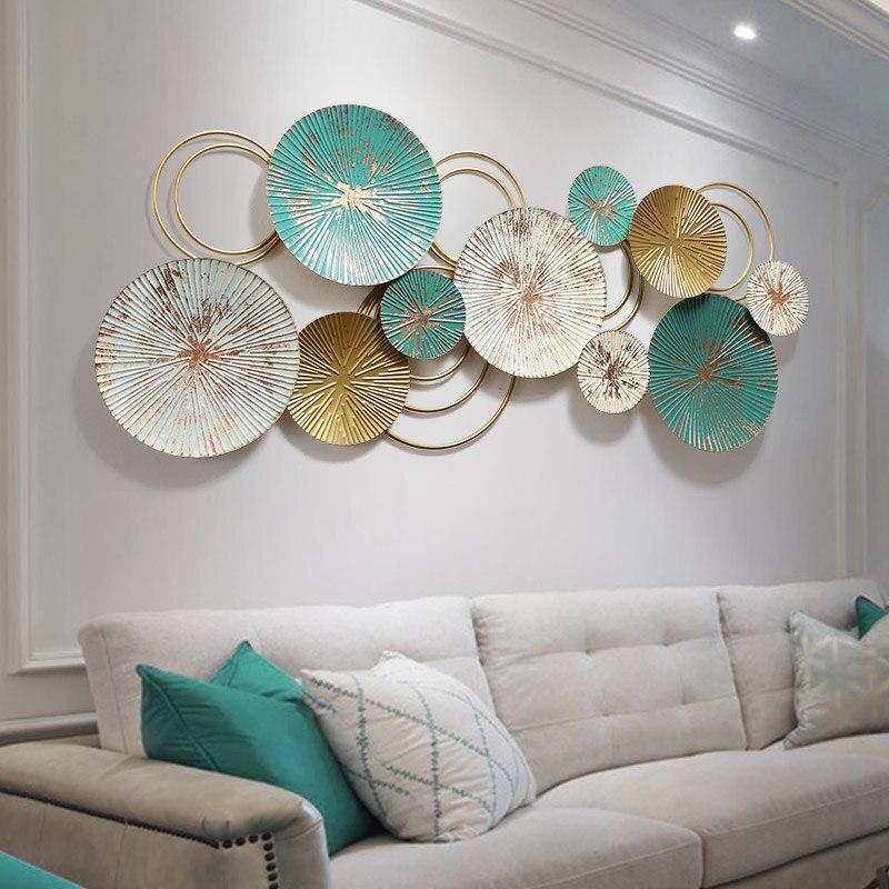 Decoración de pared de hierro 3D, adornos de pared de estilo nórdico, estéreo creativo de gran tamaño, decoración de metal hecha a mano para sala de estar, Fondo de sala de estar