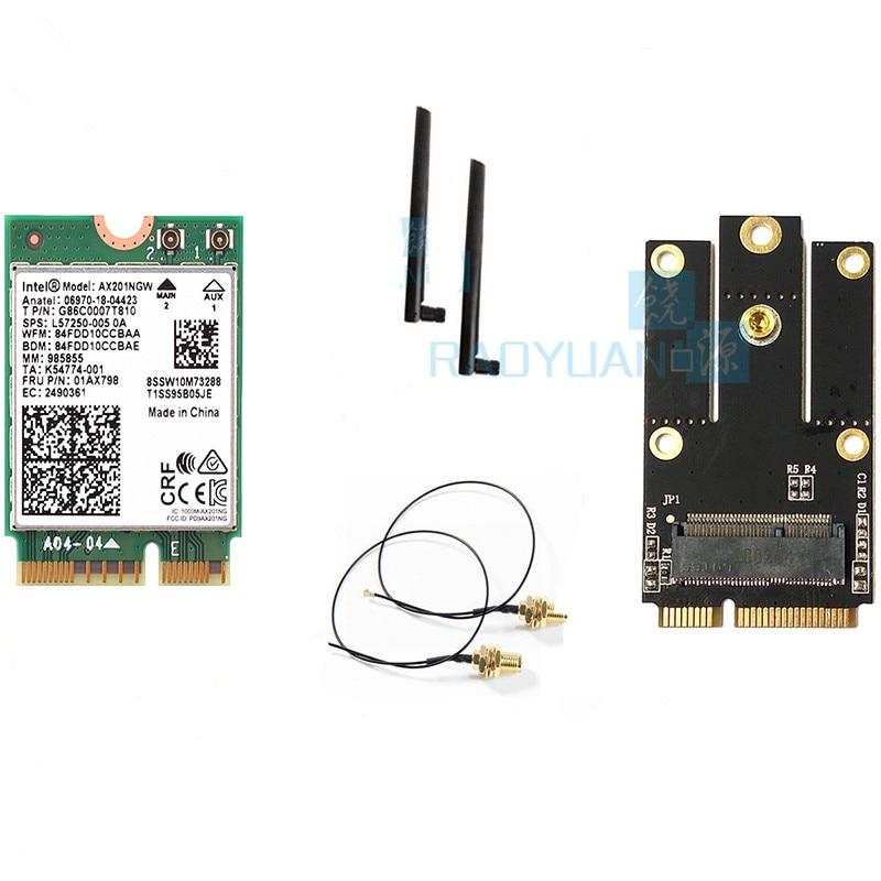 Banda dupla 2400 mbps sem fio para intel wi-fi 6 ax201 bluetooth 5.0 ngff chave e cnvi wifi cartão ax201ngw 2.4 ghz/5 ghz 802.11ac/ax