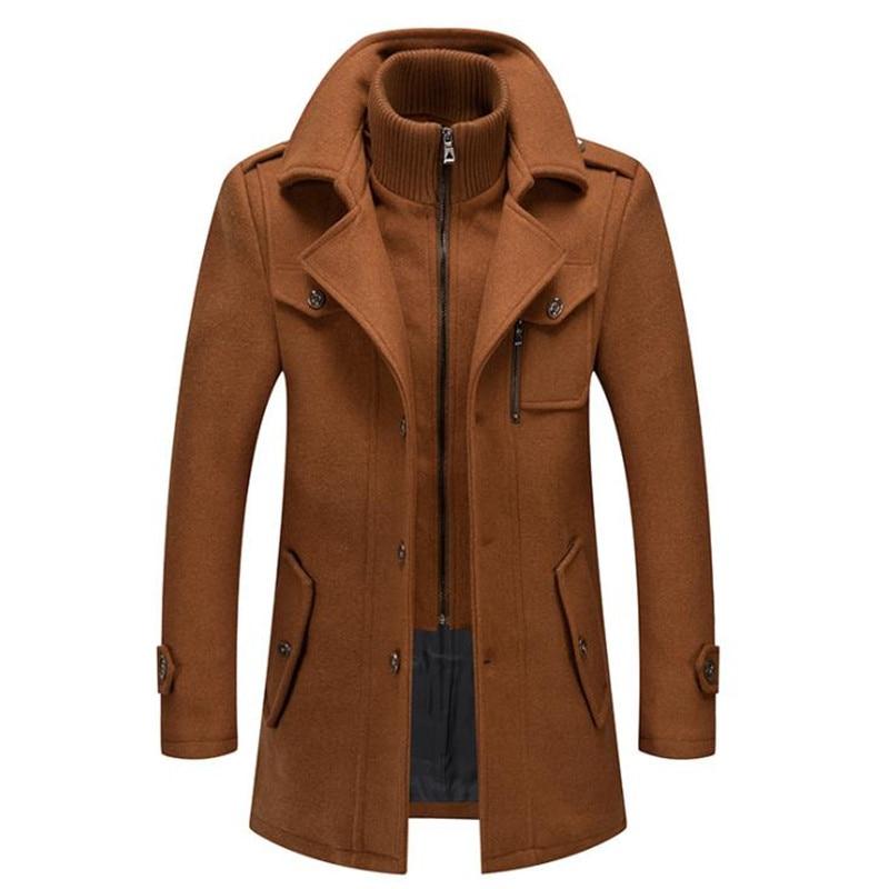 جاكيت رجالي صوف بقلنسوة, معطف رجالي صوف مقاوم للرياح طويل للشتاء والخريف