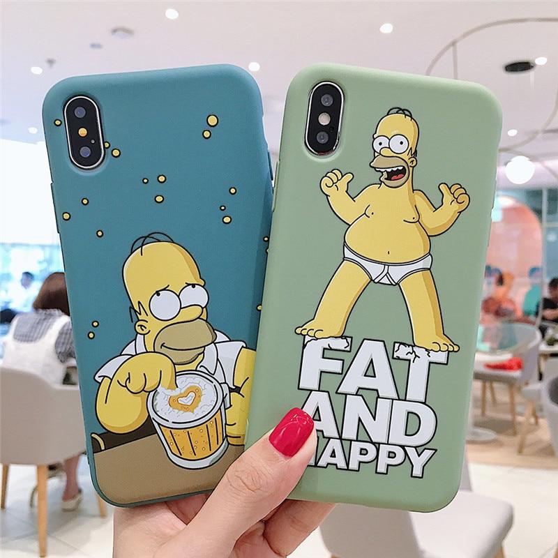 Funda de teléfono linda de dibujos animados Simpson para iPhone 7 8 6S plus x xrluxury, funda de moda para iPhone 11 Pro XS Max, funda trasera de silicona