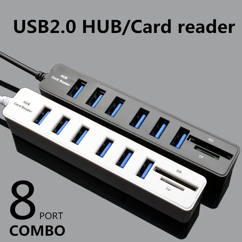 USB Hub 8 Port Expander Adapter Multi USB Splitter Portable HUB High Speed 8 in1 2.0 Hab TF SD Card Reader All In One For PC
