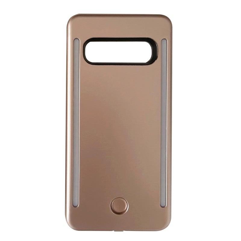 Anti-caída 3 generación Led Auto-temporizador Flash Luz de relleno perfecta funda protectora de teléfono móvil para Samsung S10, oro rosa