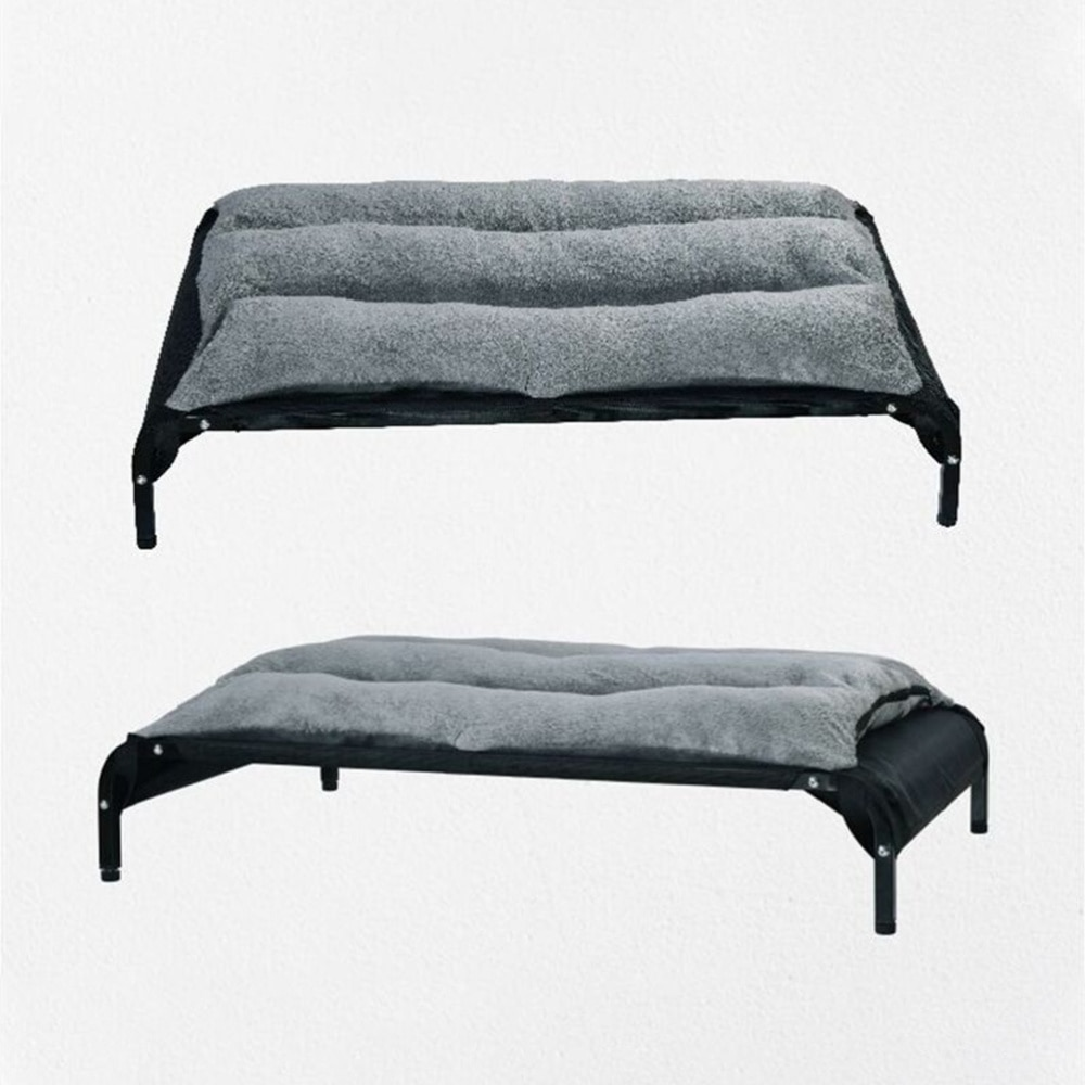 Strap Pet Bed Dog Sofa Warm Pet Corner Couch Corduroy Pet Cushion Supplies for Pet Dog (Grey)