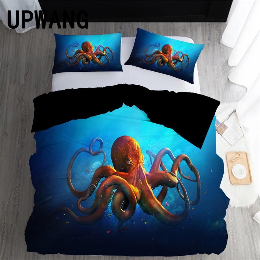 UPWANG-طقم أغطية سرير ثلاثي الأبعاد ، غطاء لحاف/لحاف بطبعة الأخطبوط ، غطاء وسادة ، منسوجات منزلية