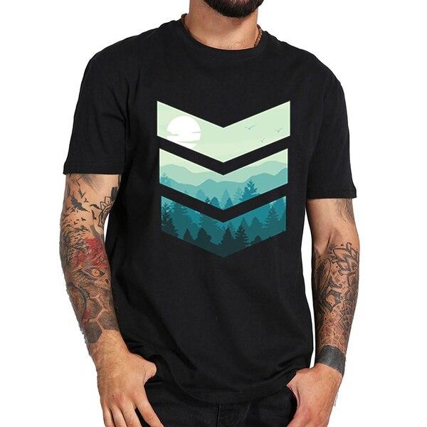 Мужские футболки с Зимним Пейзажем, лето 2021, хлопковая футболка, мужские футболки
