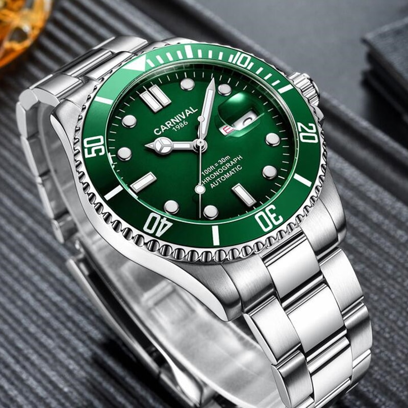 CARNIVAL 100ft Diving Watch Men's Water Ghost Automatic Mechanical HD Luminous Pointer Calendar Display Watches Relogio Masculin