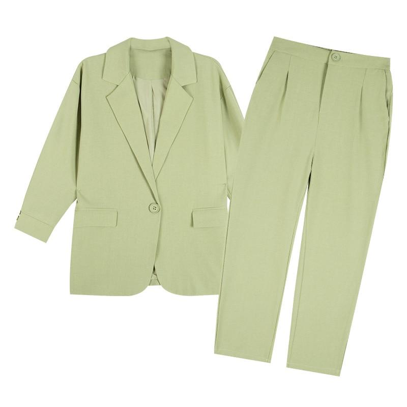 2020 الربيع الصيف المرأة عارضة السراويل جناح للنساء 2 قطعة مجموعة مكتب السيدات سترة و بانت الأسود الأخضر الكاكي بنطلون بدلة