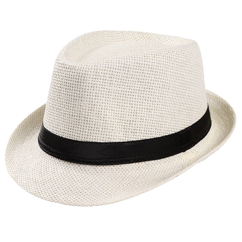 Unisex Fedoras Gangster Cap Beach Sun Straw Bucket Hat Sunhats Floppy Straw Wide Brim Sun Cap Travel