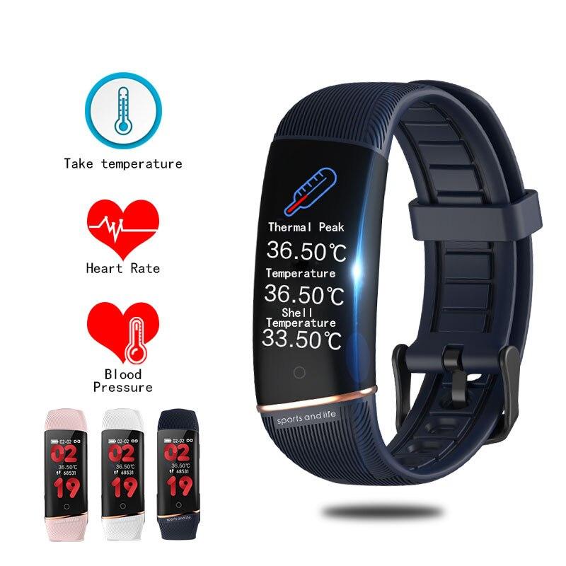 2020 nova e98s inteligente pulseira de monitoramento de temperatura do corpo ecg ppg esportes pedômetro à prova dmulti água multi-função esportes relógio inteligente