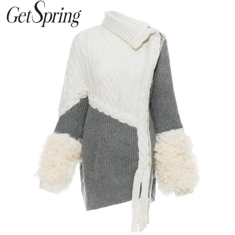 GETSPRING suéter para mujer, suéteres de punto empalmados de piel de cordero, cárdigan asimétrico de punto, cárdigan de manga larga, Top de punto asimétrico, otoño