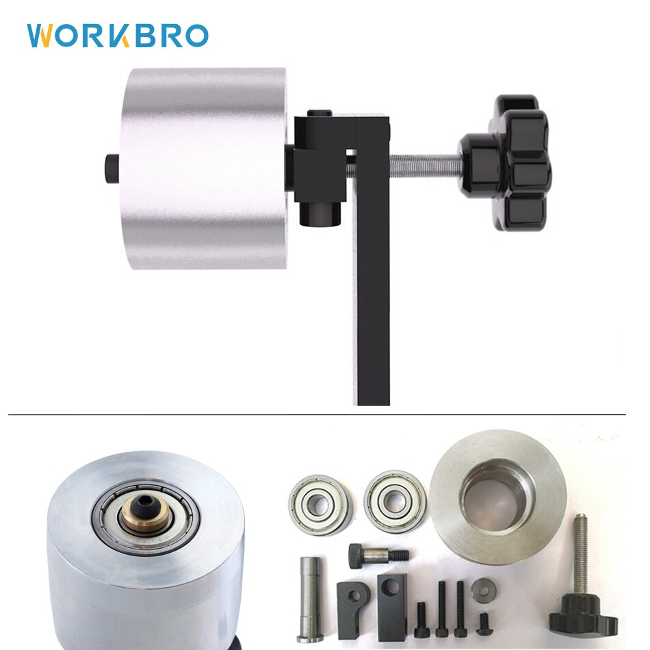 Montagem da roda do guia da lixadeira da correia da roda do rolamento dobro ajustável 50mm 2 rolamento diy acessórios peças kit de ferramentas