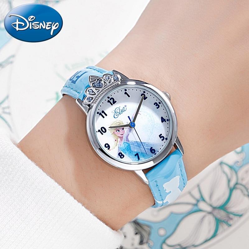 Frozen Elsa Princess 3D Pattern Children Quartz Watch Fashion Trendy Girl Love Amazing Pink Blue Kids Watches Lady Hour Youth